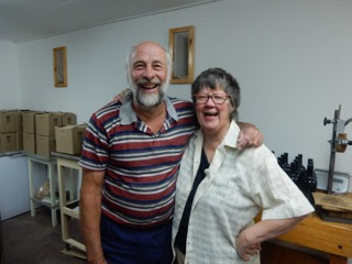 Herman and Susan Perold in their wine cellar